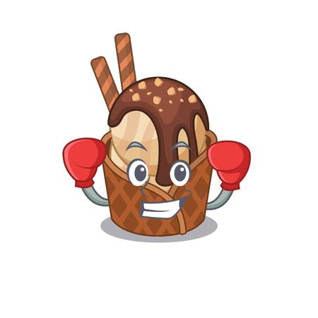 A sporty coffee ice cream boxing mascot design style