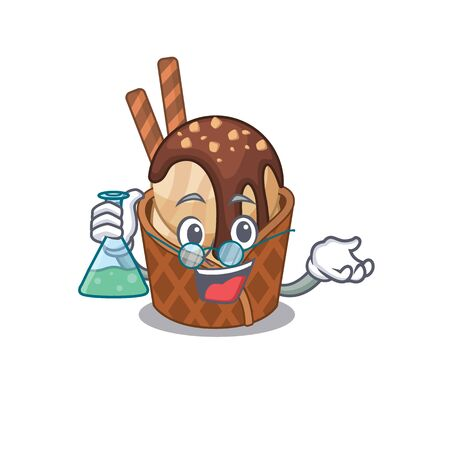 Smart Professor of coffee ice cream mascot design holding a glass tube  イラスト・ベクター素材