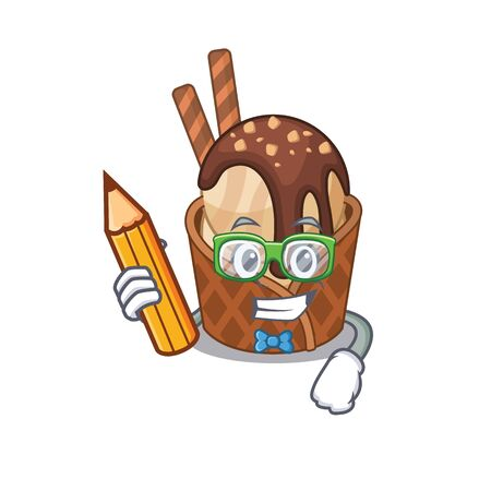 A smart student coffee ice cream character with a pencil and glasses