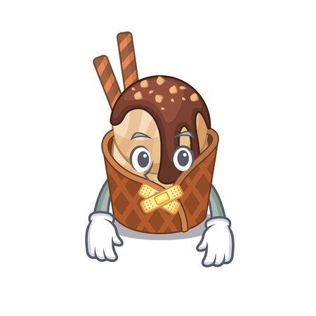 coffee ice cream mascot cartoon character design with silent gesture 일러스트