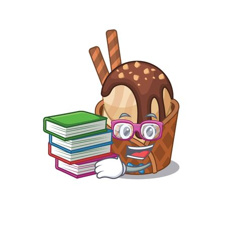 A diligent student in coffee ice cream mascot design with book  イラスト・ベクター素材