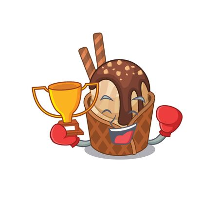 Happy face of boxing winner coffee ice cream in mascot design style. Vector illustration
