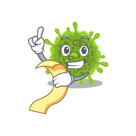 cartoon character of coronavirus holding menu ready to serve