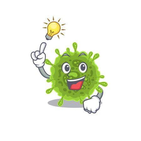 Have an idea gesture of coronavirus mascot character design Illustration