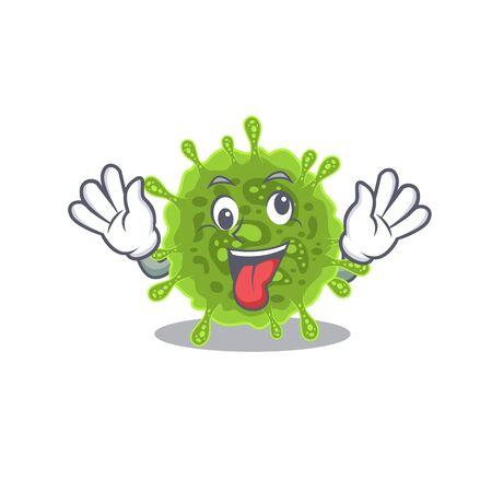 A picture of crazy face coronavirus mascot design style