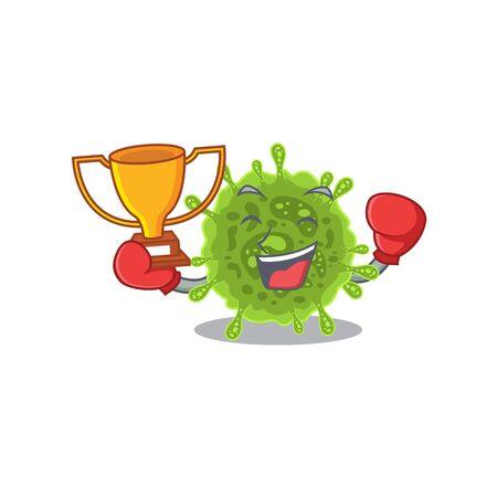 Happy face of boxing winner coronavirus in mascot design style