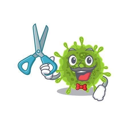 Cool Barber coronavirus in mascot design style Illustration