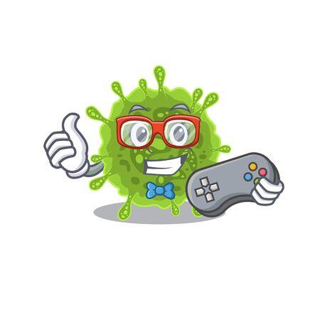 Cool gamer of coronavirus mascot design style with controller 矢量图像