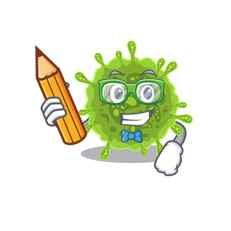 A smart student coronavirus character with a pencil and glasses