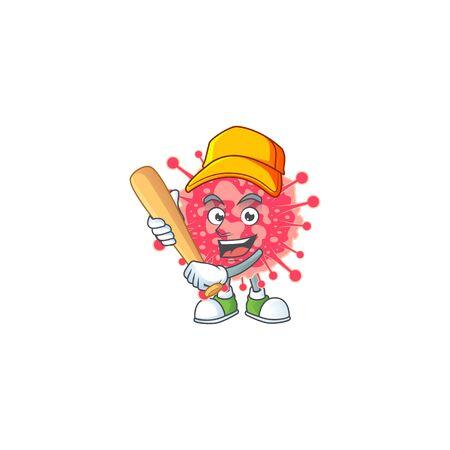 Cartoon design of coronavirus emergency having baseball stick. Vector illustration