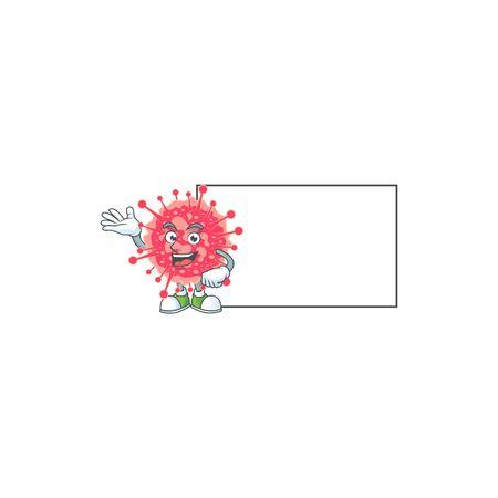 Coronavirus emergency with board cartoon mascot design style. Vector illustration