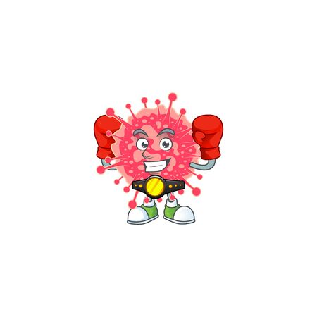 A sporty boxing of coronavirus emergency mascot design style. Vector illustration