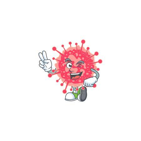 A joyful coronavirus emergency mascot design showing his two fingers. Vector illustration