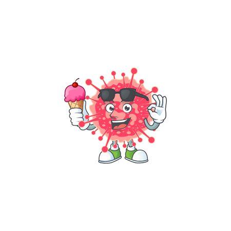 cartoon character of coronavirus emergency enjoying an ice cream. Vector illustration