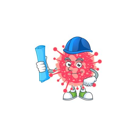 A clever Architect of coronavirus emergency with blue prints and blue helmet. Vector illustration
