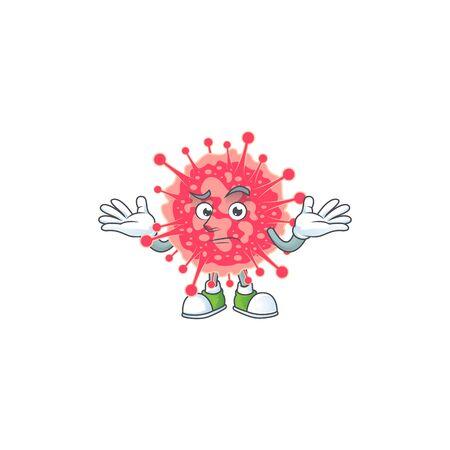 A picture of smirking coronavirus emergency cartoon character design style. Vector illustration 向量圖像