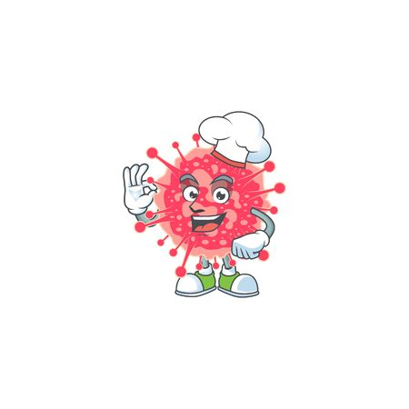 A picture of coronavirus emergency cartoon character wearing white chef hat. Vector illustration