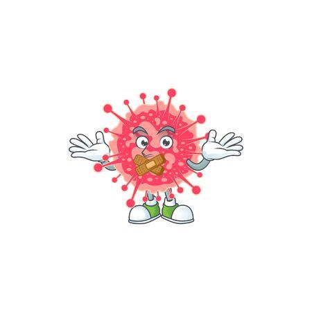 Coronavirus emergency cartoon character design concept showing silent gesture. Vector illustration