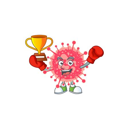 Happy face of boxing winner coronavirus emergency in mascot design style. Vector illustration