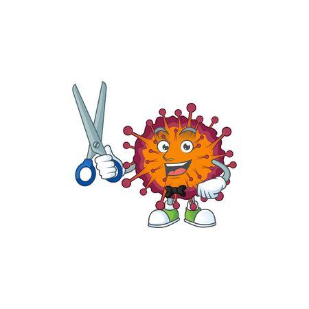 Cool Barber COVID19 syndrome mascot design style. Vector illustration Illustration