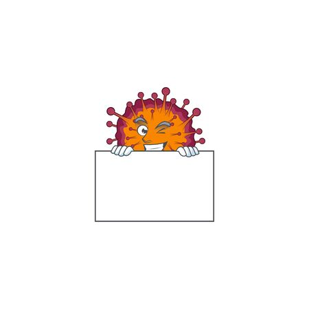 Cheerful COVID19 syndrome cartoon character has a board. Vector illustration