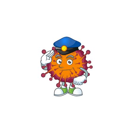 A cartoon of COVID19 syndrome dressed as a Police officer. Vector illustration Illustration