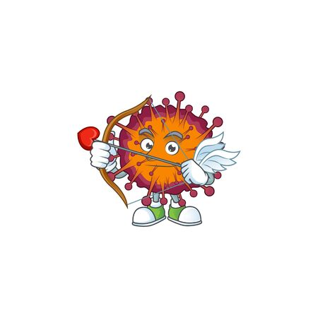 Sweet cartoon character of COVID19 syndrome Cupid with arrow and wings. Vector illustration