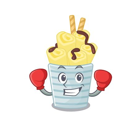 A sporty ice cream banana rolls boxing mascot design style 向量圖像