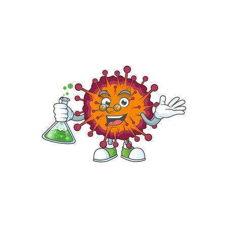 COVID19 syndrome brainy Professor Cartoon design grasp a glass tube. Vector illustration Illustration