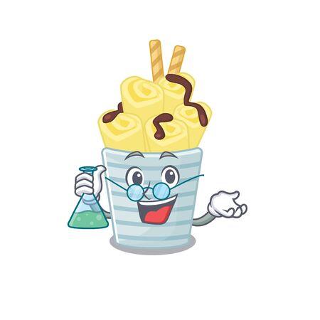 Smart Professor of ice cream banana rolls mascot design holding a glass tube. Vector illustration