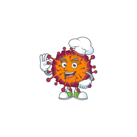 A picture of COVID19 syndrome cartoon character wearing white chef hat. Vector illustration