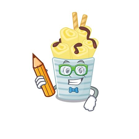 A smart student ice cream banana rolls character with a pencil and glasses