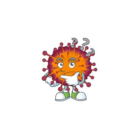 Cute COVID19 syndrome cartoon character using a microphone