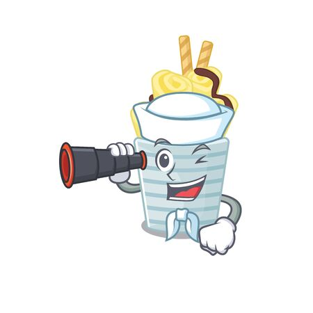ice cream banana rolls in Sailor cartoon character design with binocular