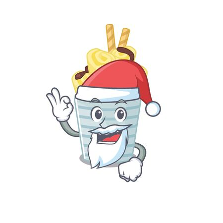 ice cream banana rolls in Santa cartoon character design showing ok finger 矢量图像