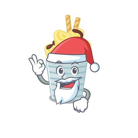 ice cream banana rolls in Santa cartoon character design showing ok finger Ilustração