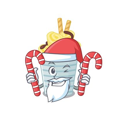 Friendly ice cream banana rolls in Santa Cartoon character having candies