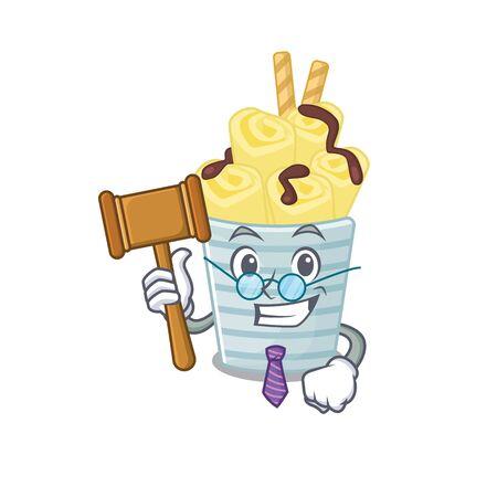 Charismatic Judge ice cream banana rolls cartoon character design wearing cute glasses