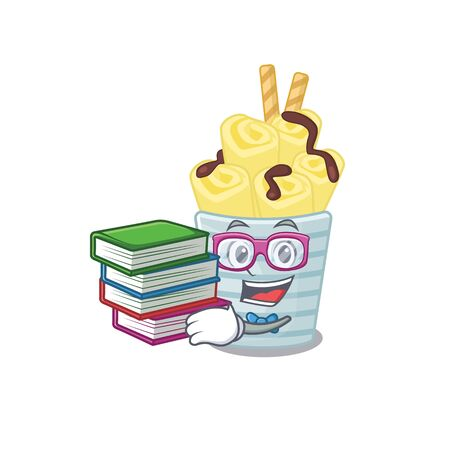 A diligent student in ice cream banana rolls mascot design with book