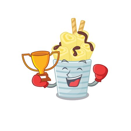 Happy face of boxing winner ice cream banana rolls in mascot design style 向量圖像