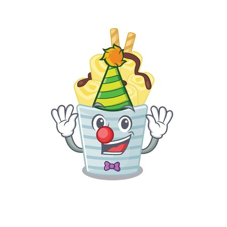 Cute and Funny Clown ice cream banana rolls cartoon character mascot style