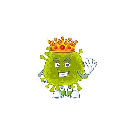 A Charismatic King of coronavirus spread cartoon character design. Vector illustration