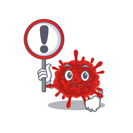 Cheerful cartoon style of buldecovirus holding a sign Vectores