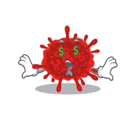 Rich buldecovirus with Money eye mascot character style
