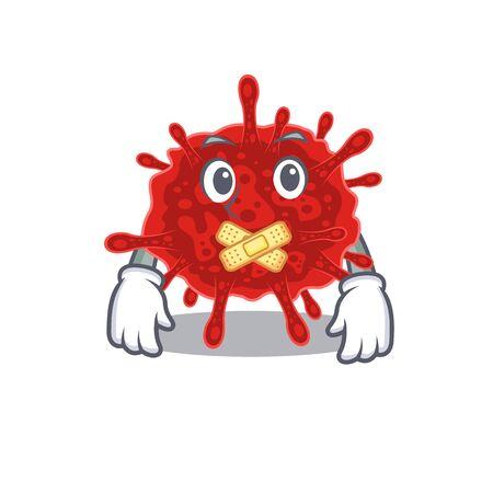 buldecovirus mascot cartoon character design with silent gesture 일러스트