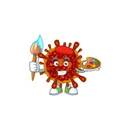 An artistic deadly coronvirus artist cartoon design using a brush