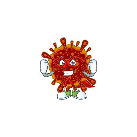 A picture of deadly coronvirus dressed as a Super hero cartoon character