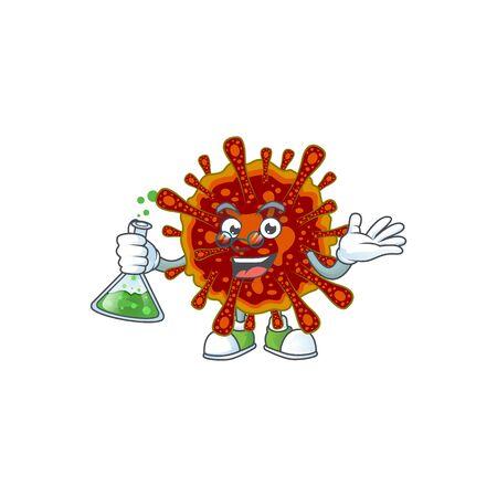 Deadly coronvirus brainy Professor Cartoon design grasp a glass tube  イラスト・ベクター素材