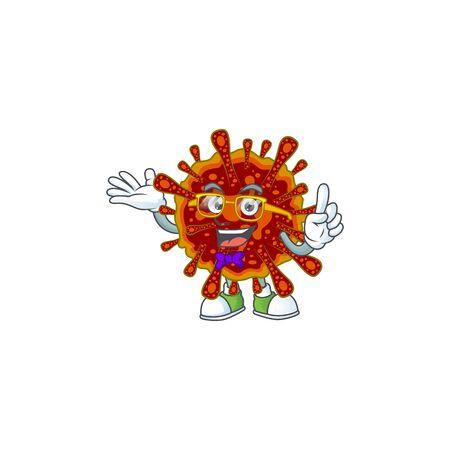 Super Funny deadly coronvirus in nerd mascot design style  イラスト・ベクター素材