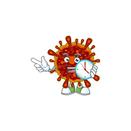 cartoon character style of cheerful deadly coronvirus with clock Ilustrace